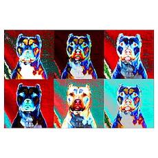 Pit Bull Terrier Pop Art Violet Poster