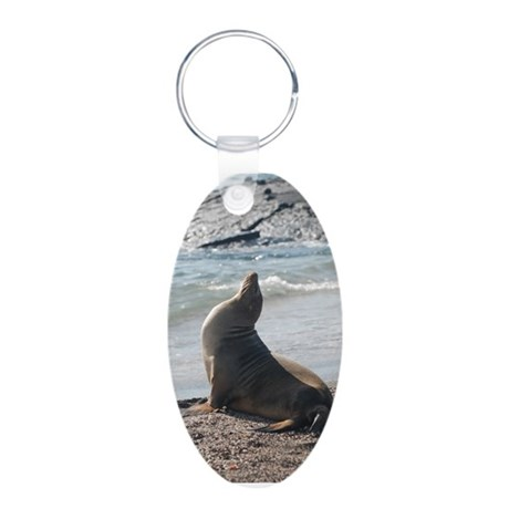 Sea Lion 2 Aluminum Oval Keychain