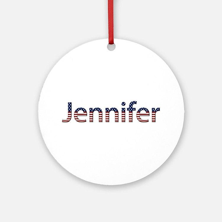 Jennifer Stars and Stripes Round Ornament