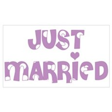 Just Married Polka Dot Poster
