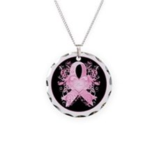 Pink Love Swirls Necklace Circle Charm