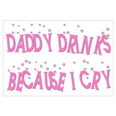DADDY DRINKS BECAUSE I CRY Framed Print