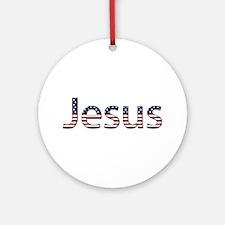 Jesus Stars and Stripes Round Ornament