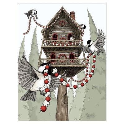 A Chickadee Christmas 1 Canvas Art