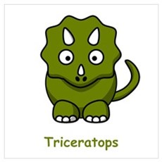 Cartoon Triceratops Canvas Art
