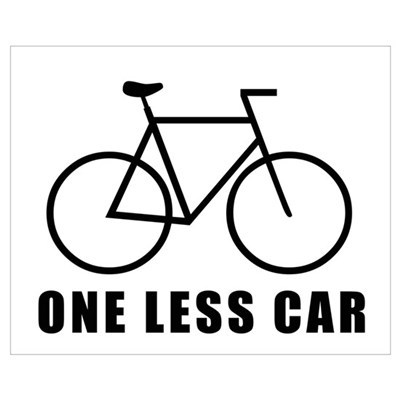 One less car - cycling Framed Print