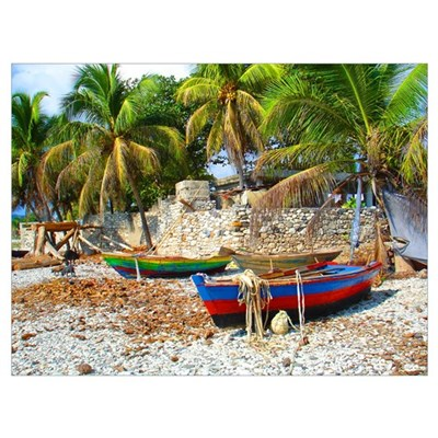 'Fishing Boats & Wall' Canvas Art