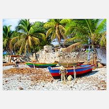 'Fishing Boats & Wall'