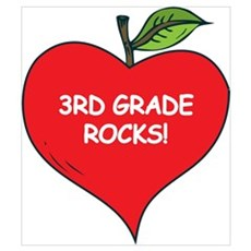 Heart Apple 3rd Grade Rocks Poster