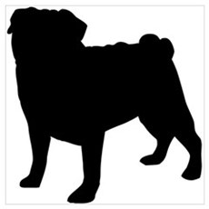 Pug Silhouette Canvas Art
