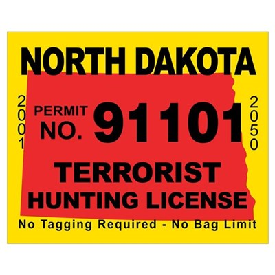 North Dakota Terrorist Huntin Framed Print