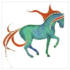 mosaic horse Canvas Art