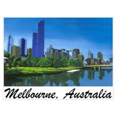 Melbourne Skyline Painting Poster