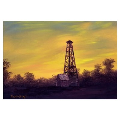 'Old Derrick Sunset' Framed Print