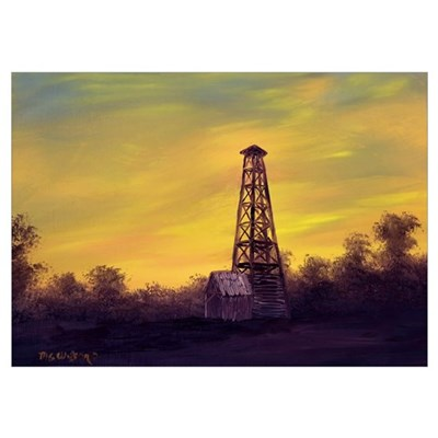 'Old Derrick Sunset' Poster
