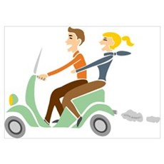 Scooter Retro Couple Poster