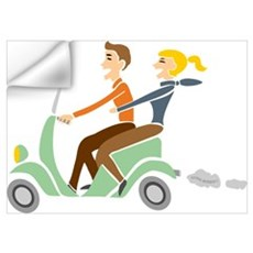 Scooter Retro Couple Wall Decal
