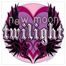 Twilight New Moon Winged Hearts Pink Poster