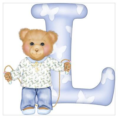 Teddy Alphabet L Blue Poster