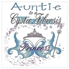 Auntie to a Cystic Fibrosis Warrior Blue Large Fra Poster