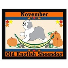 Old English Sheepdog Calendar Poster