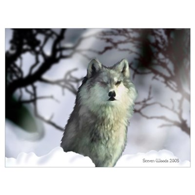 The Grey Wolf Canvas Art