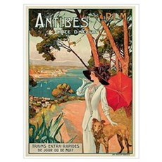 Vintage 1910 Antibes Italy Travel Framed Print