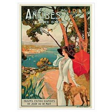Vintage 1910 Antibes Italy Travel Poster