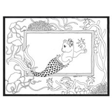 Mercat with seahorse and jell Framed Print