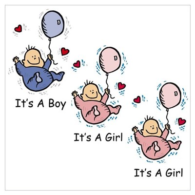 It's a Boy Girl Girl Triplets Poster