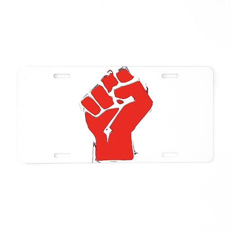 Raised Fist Aluminum License Plate
