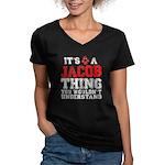A Jacob Thing Women's V-Neck Dark T-Shirt
