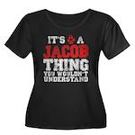 A Jacob Thing Women's Plus Size Scoop Neck Dark T-