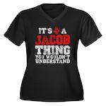 A Jacob Thing Women's Plus Size V-Neck Dark T-Shir