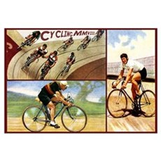 Cyclists Retro Vintage Art Framed Print