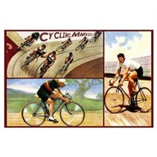 Cyclists Retro Vintage Art Poster