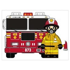 Firefighter and Fire Engine Canvas Art