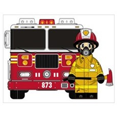 Firefighter and Fire Engine Poster