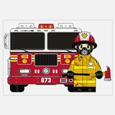 Firefighter and Fire Engine