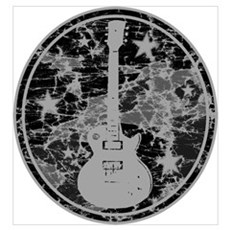 Grey Distressed Star Guitar Poster