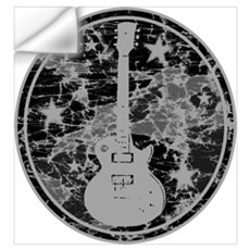Grey Distressed Star Guitar Wall Decal
