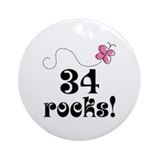 34th Birthday Butterfly Ornament (Round)