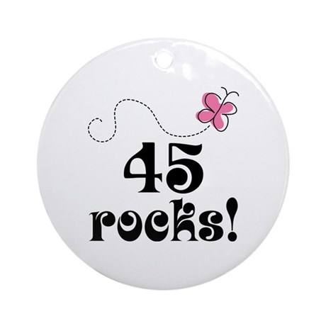 45th Birthday Butterfly Ornament (Round)
