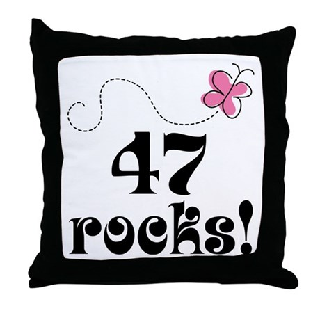 47th Birthday Butterfly Throw Pillow