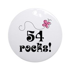 54th Birthday Butterfly Ornament (Round)