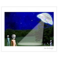 Alien Visit - Version 2 ~ Framed Print