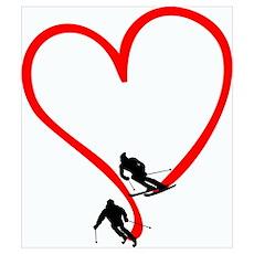 Skier Love Poster
