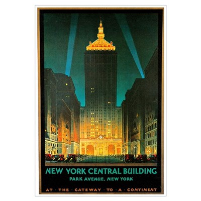 Vintage New York Central Building Canvas Art