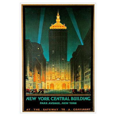 Vintage New York Central Building Poster