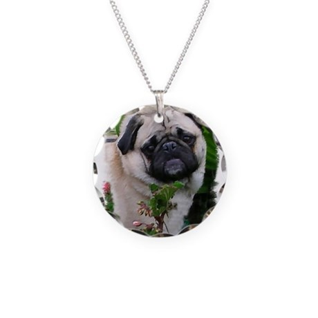 Pug Art Gifts Necklace Circle Charm